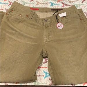 AG- Olive green jeans, the model the Gemini